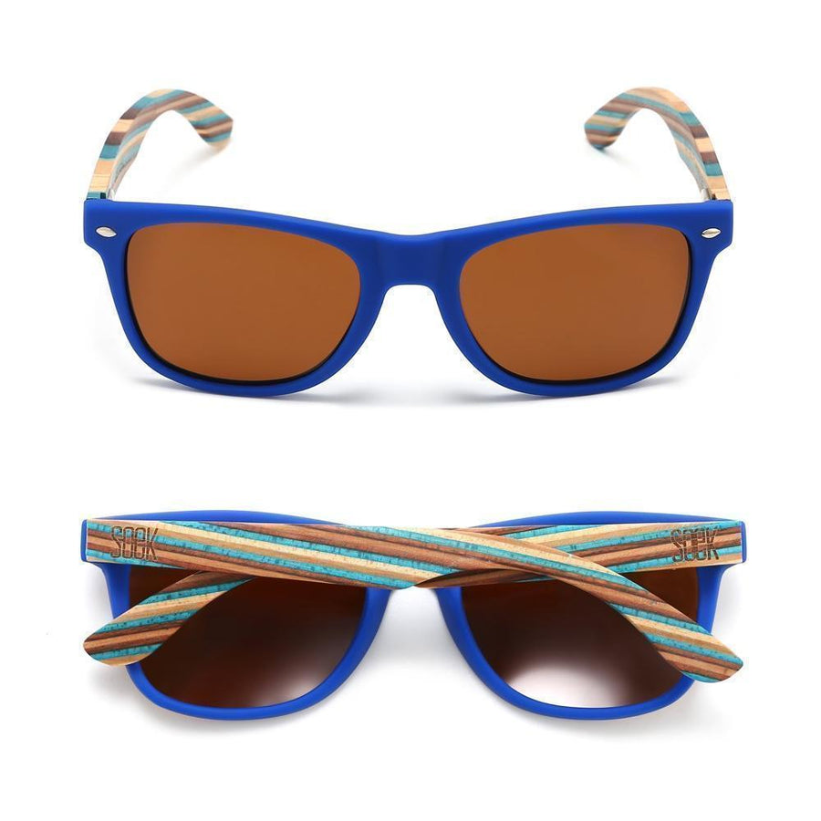 BRONTE - Blue Sustainable Polarized Sunglasses with Wooden Striped Arms - Adults