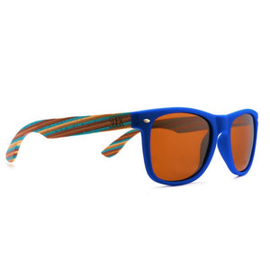 BRONTE - Blue Sustainable Polarized Sunglasses with Wooden Striped Arms