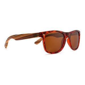 AVOCA - Tortoise Polarized Sunglasses with Sustainable Mustard Wooden Striped Arms - Adult