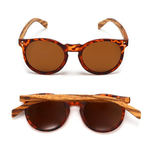 NOOSA - Tortoise Sustainable Polarized Sunglasses with Walnut Wooden Arms - Adult