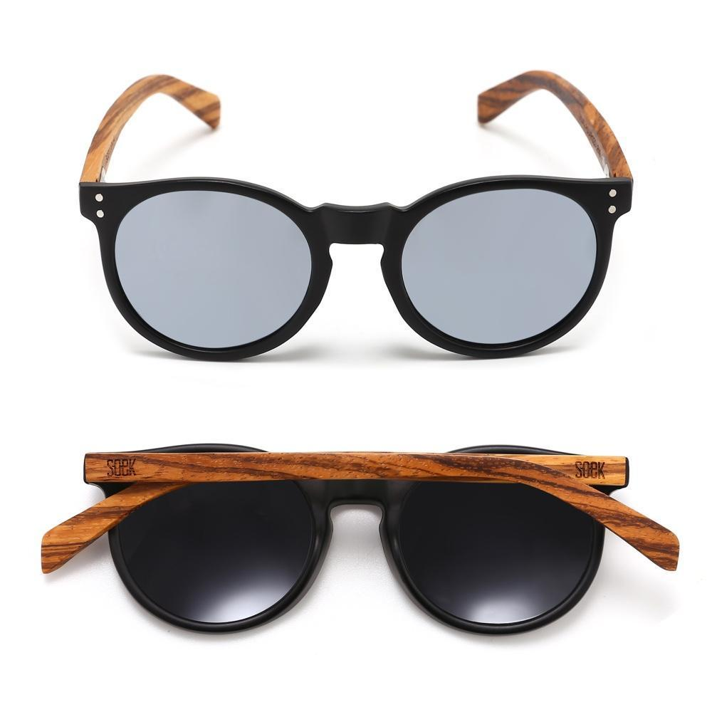 SORRENTO - Black Sustainable Sunglasses with Walnut Wooden Arms and Silver Polarized Lens - Adult