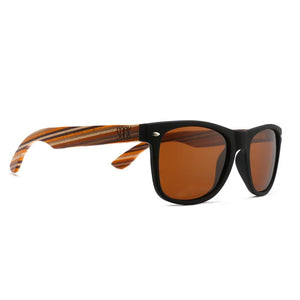 TORQUAY -  Black Sustainable Polarized Sunglasses with Mustard Wooden Striped Arms - Adult