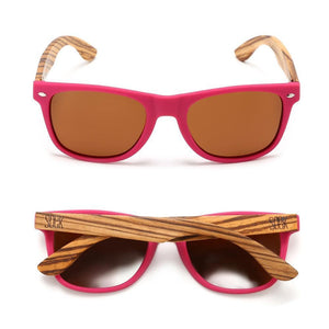 BRIGHTON - Magenta Sustainable Polarized Sunglasses with Walnut Wooden Arms  - Adult