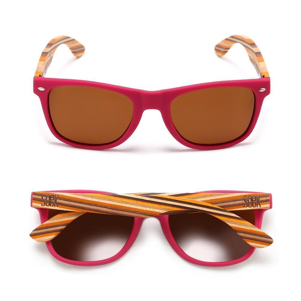 AVALON -Magenta Pink Sustainable Sunglasses with Mustard Wooden Striped Arms - Adult