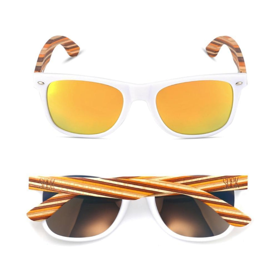 BURLEIGH - White Sustainable Sunglasses with Mustard Arms and Yellow Polarized Lens - Adult