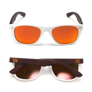 BELLS - White Bamboo Sunglasses with Red Polarized Lens - Adult