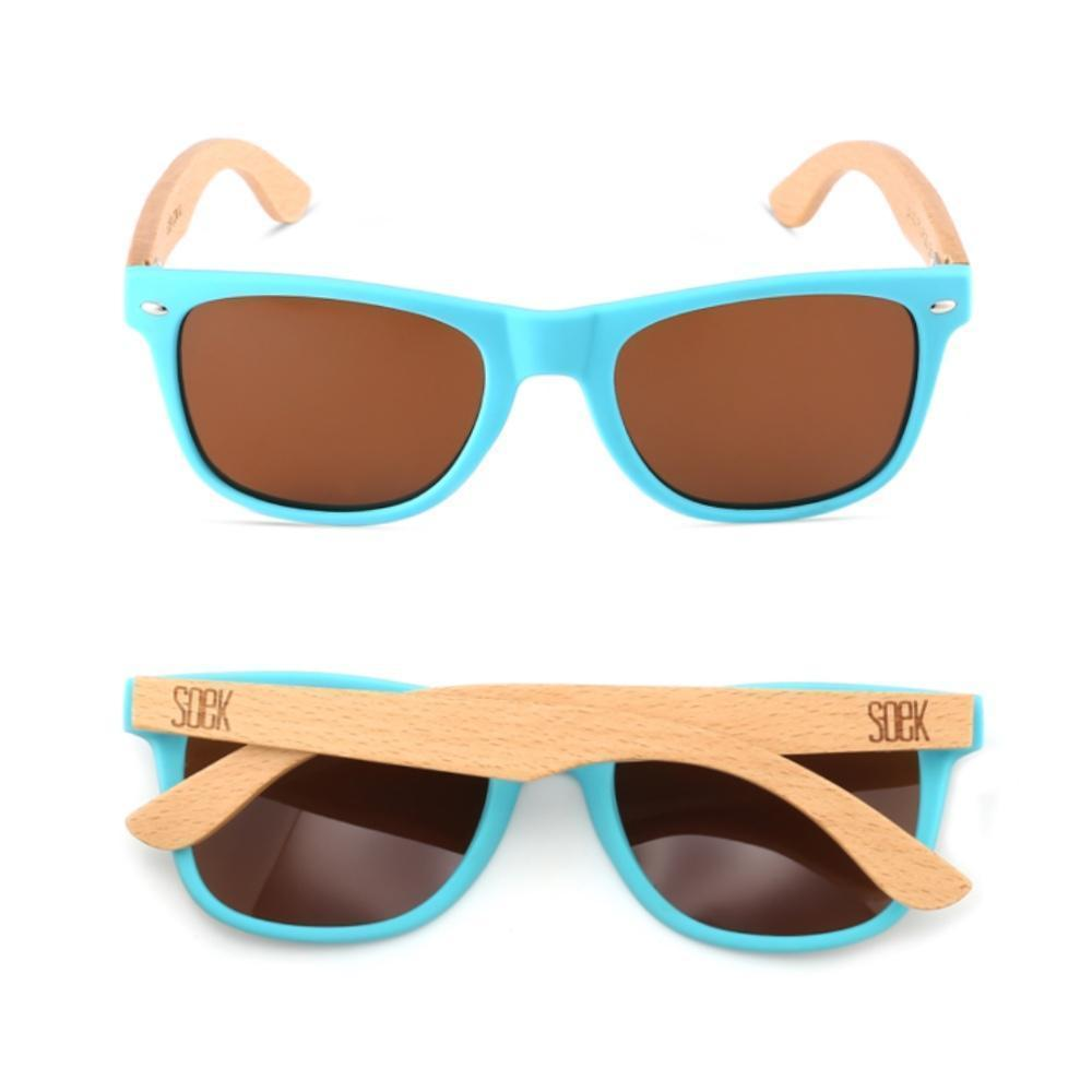 MINDIL - Light Blue Sustainable Beach Wood Polarized Sunglasses - Adult