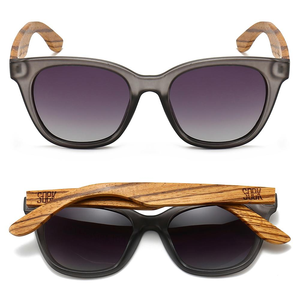 LILA GRACE CHARCOAL GREY - With Black Gradual Polarized Lens and Walnut Arms