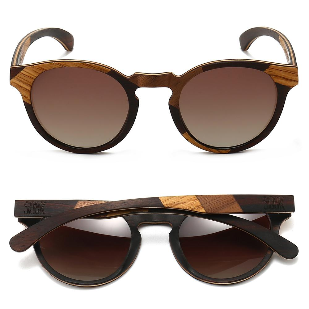 THE DRIFTER - Maple and Ebony Wooden Frame with Gradual Brown Polarized Lens  - Adult