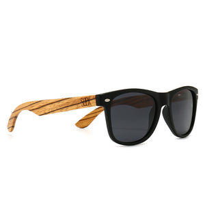 BALMORAL - Black Frame with Black Polarize Lens and Walnut Arms - Adult