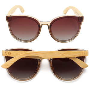 BELLA CHAMPAGNE - Brown Polarised Graduated Lens with Bamboo Arms