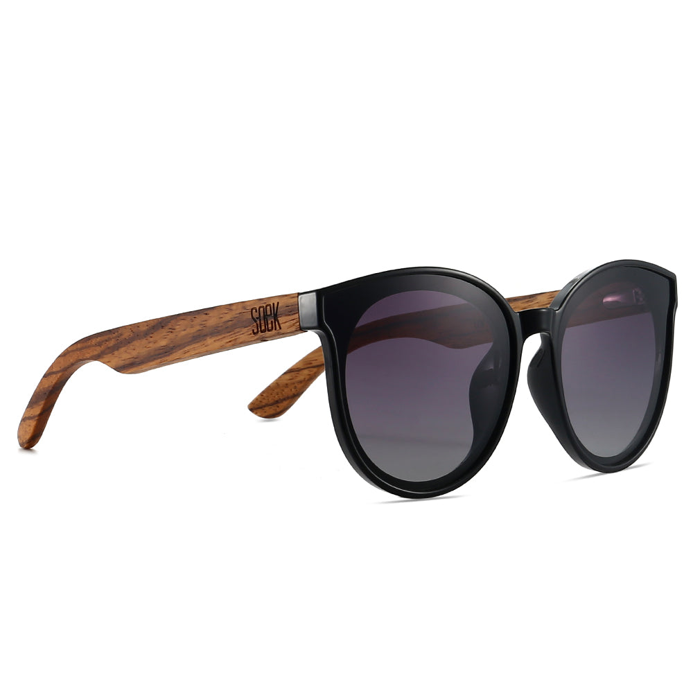 BELLA MIDNIGHT - Black Polarised Lens with Walnut Arms