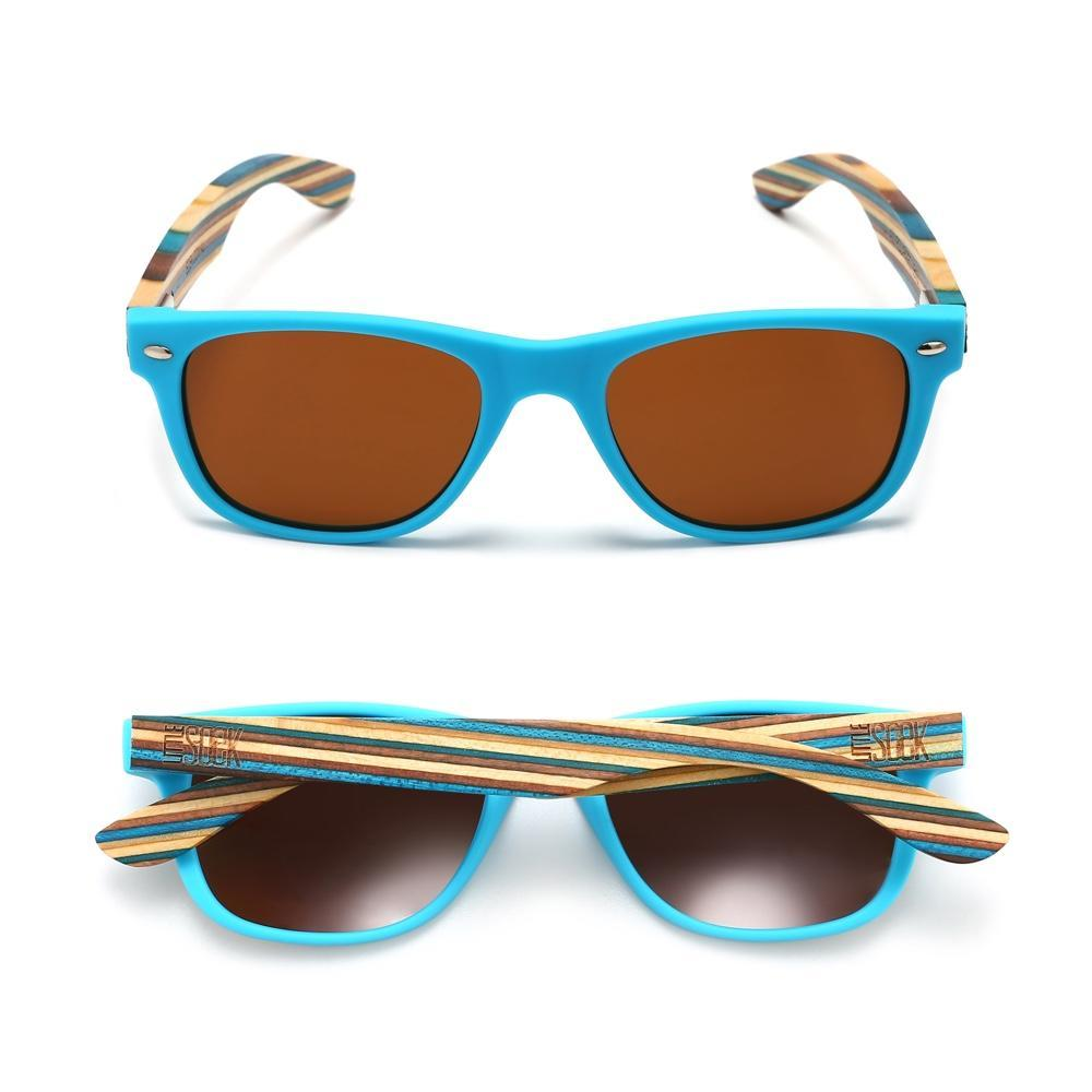 LITTLE SHELLY - Kids Sustainable Polarized Sunglasses with Striped Wooden Arms