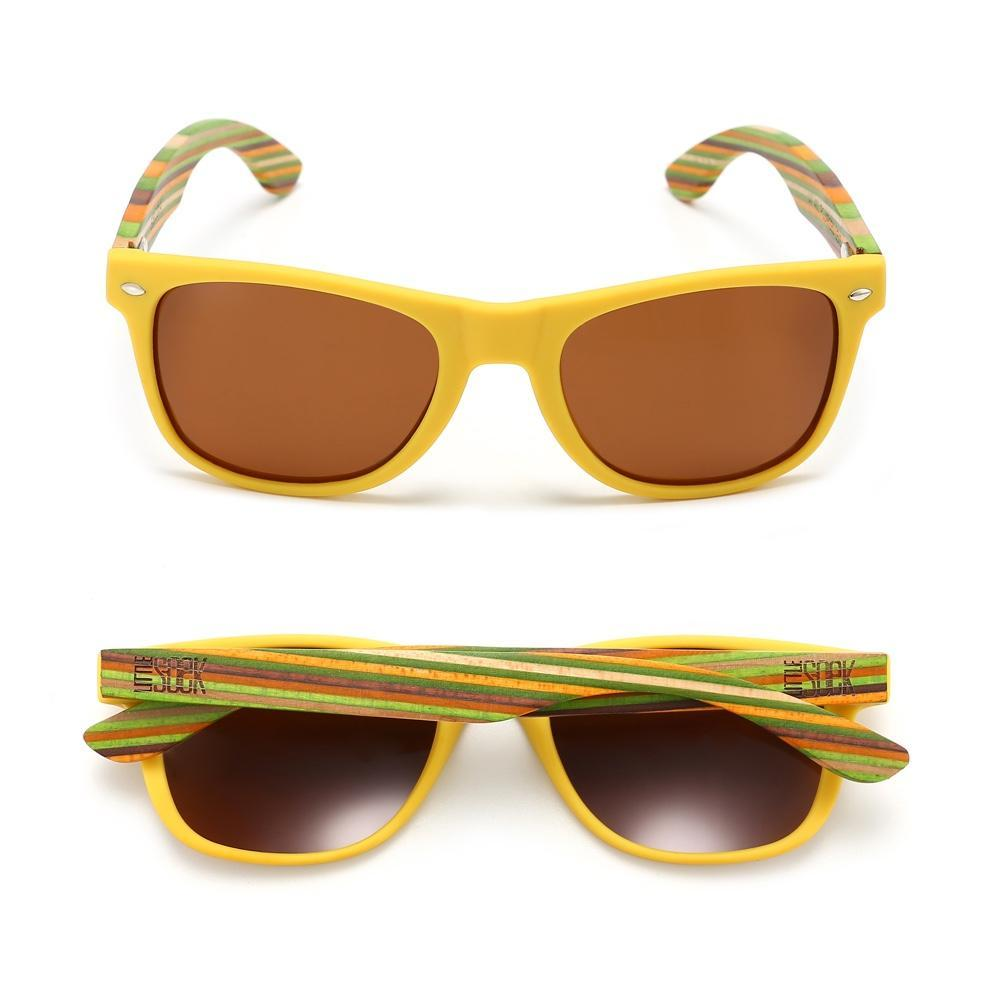 Little Soek Polarised Kids Sunglasses - Yellow Frames - Front and Back