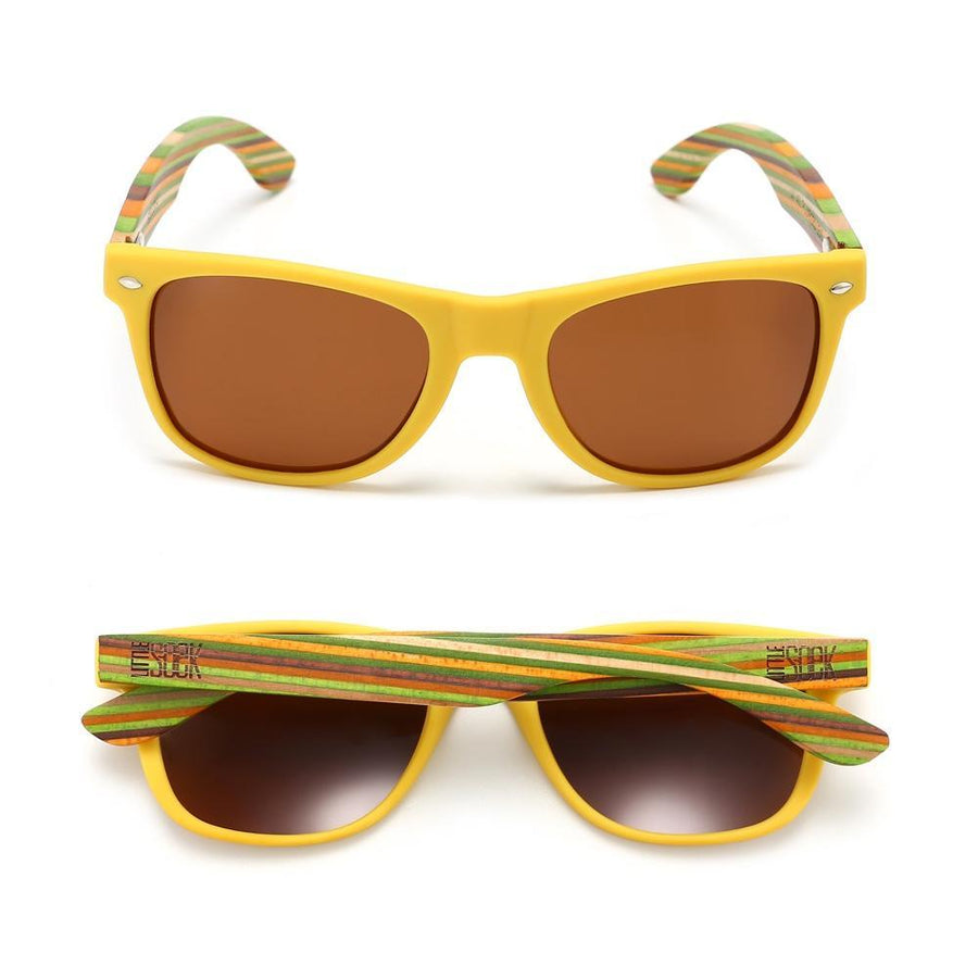 AUSTRALIAN LITTLE SOEK - Kids Yellow Sustainable Wooden Polarized Sunglasses  - Kids