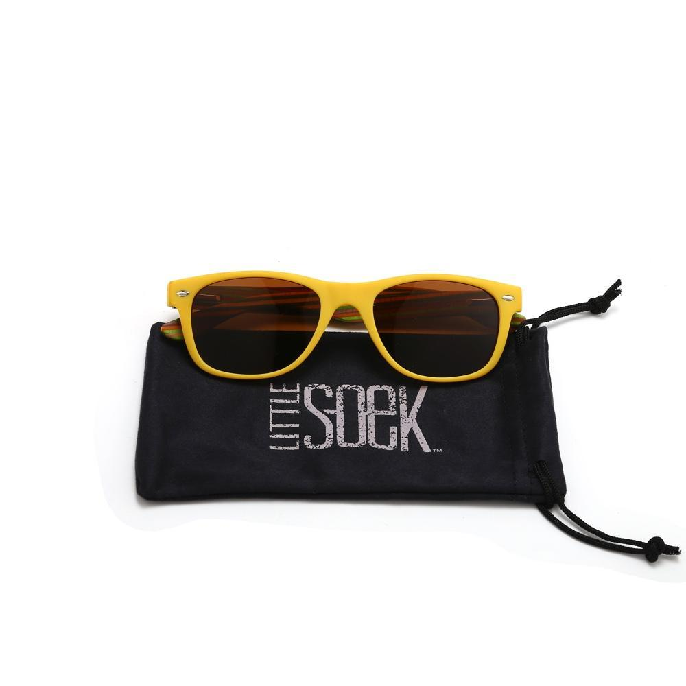 Little Soek Polarised Kids Sunglasses - Yellow Frames - With Case