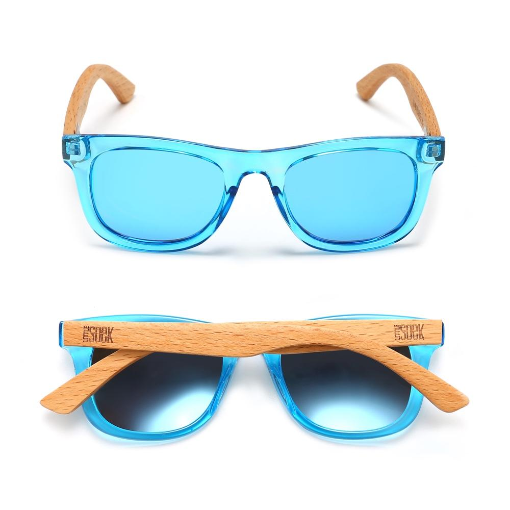 LITTLE PALM - Toddler Beach Wood Sunglasses with Blue Polarized Lens Age 4-6 Years