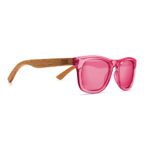 LITTLE PALM - Toddler Beech Wood Sunglasses with Pink Polarized Reflective Lens Age 4-6 Years