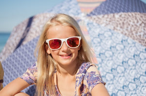 LITTLE BELLS - Kids White Bamboo Sunglasses with Red Polarized Lens