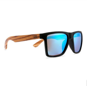FORRESTERS -Black Sustainable Sunglasses with Walnut Wooden Arms and Blue Polarized Lens - Adult