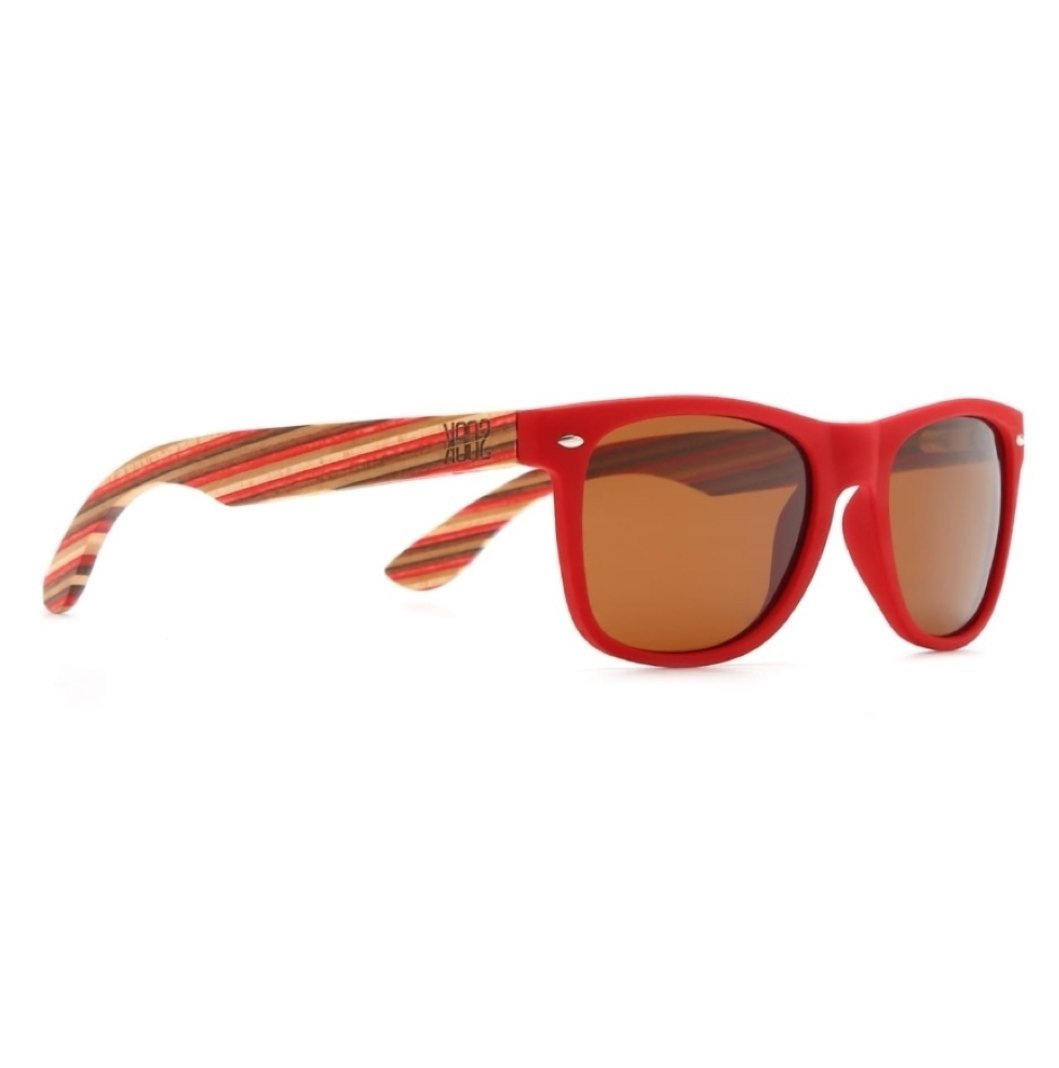 COTTESLOE - Red Sustainable Polarized Sunglasses with Wooden Striped Arms - Adults