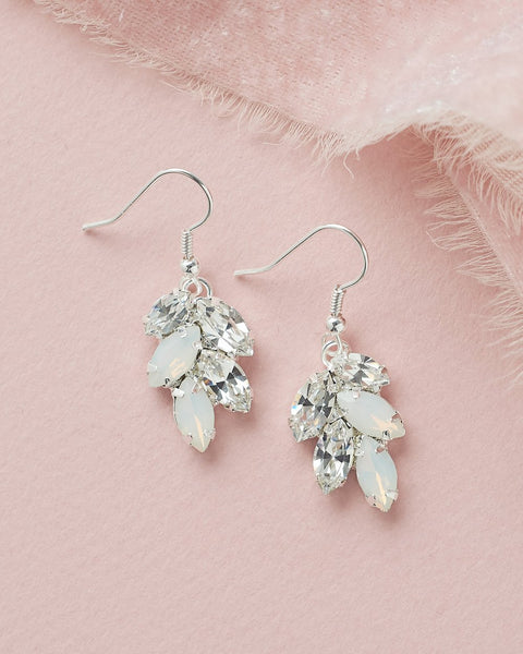 Opal & Crystal Leaf Earrings