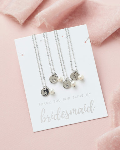 Engraved Initial Jewelry Set (Silver)