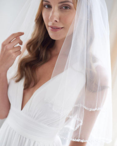 Mariah Pearl Beaded Veil with Blusher