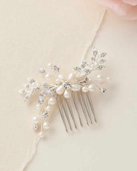 Floral Freshwater Pearl Comb