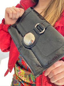 black clutch that is a satchel too