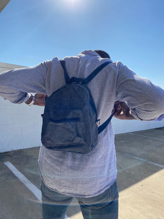 denim color mini backpack