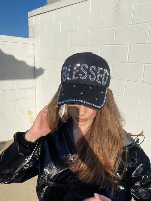 blessed rhinestone hat