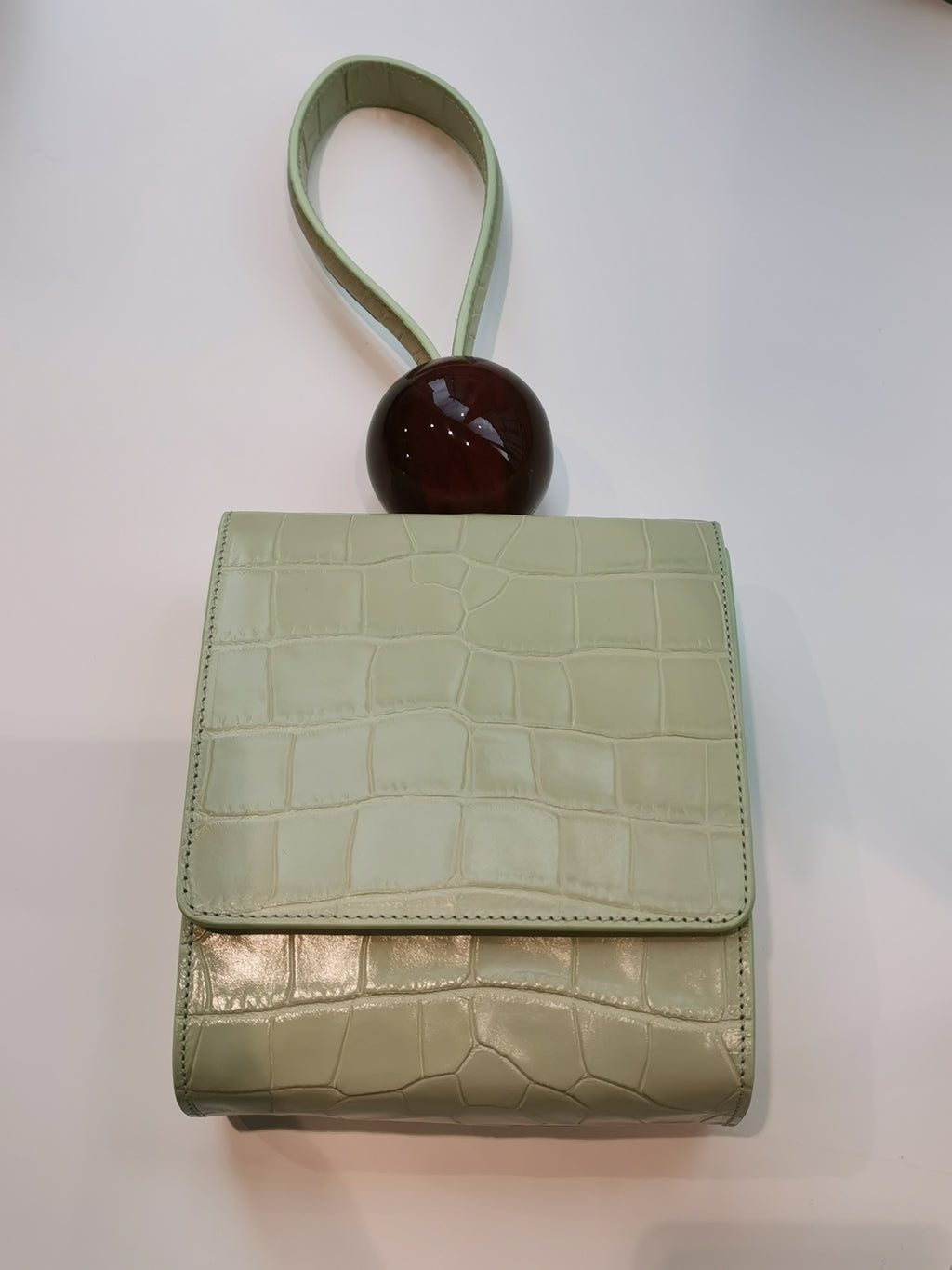 BY FAR - Ball Bag vert Croco Embossed Leather