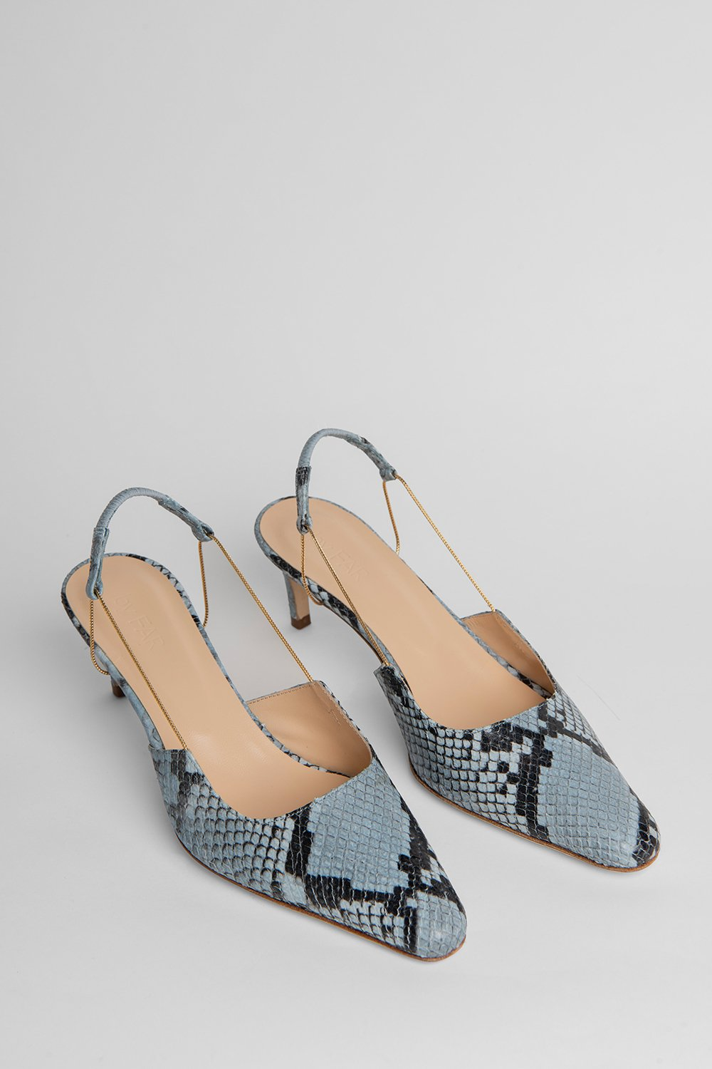 GABRIELLA BLUE SNAKE PRINT LEATHER