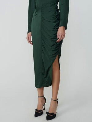 ADELINE GATHERED CREPE SATIN DRESS - ALEXA CNUNG