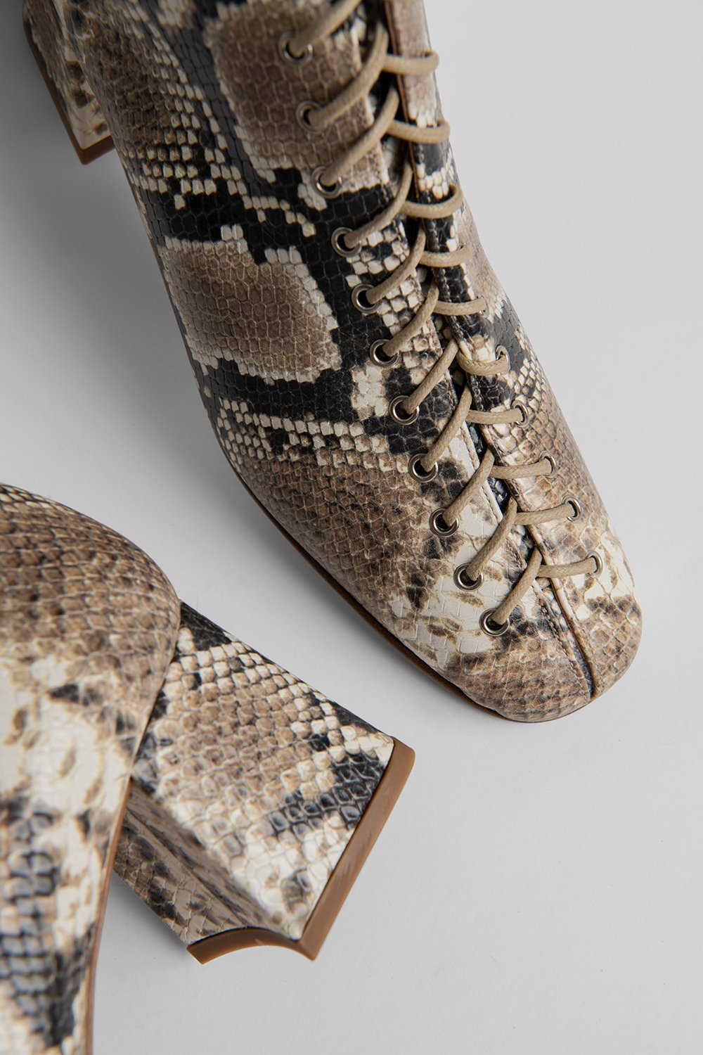 BY FAR - Bottine Becca Snake Print Leather