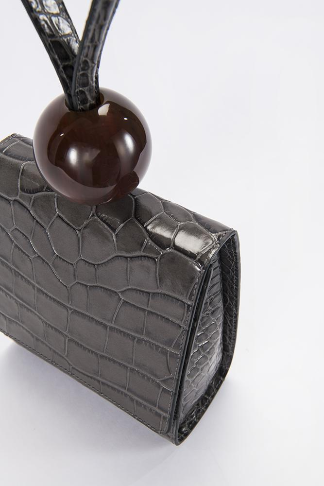 BY FAR - Ball Bag Grey Croco Embossed Leather