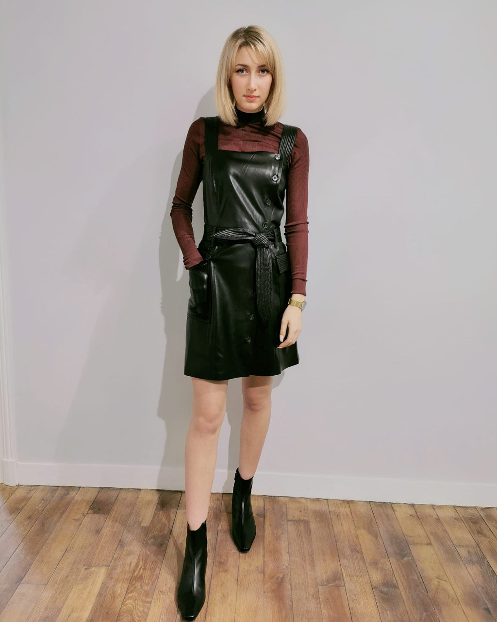 Charo Vegan Leather Minidress - NANUSHKA