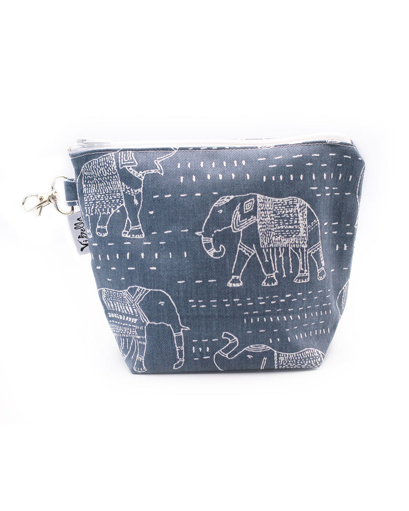 Navy Elephant Accessories Bag