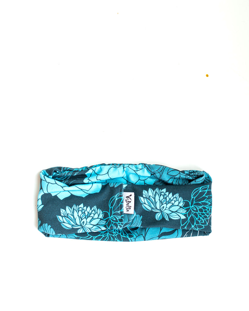 Blue Flowers Headband Mask