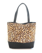 Leopard Print Leather Bottom Tote