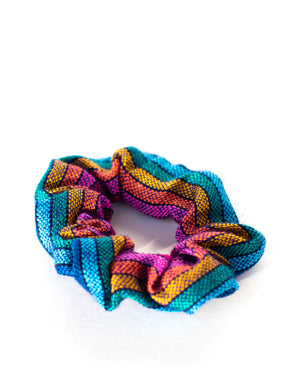 Royal Blue Rainbow Woven Scrunchie