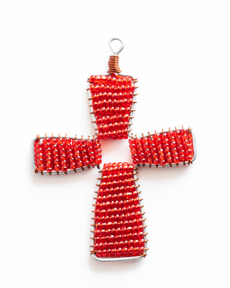 Red Beaded Cross Ornament
