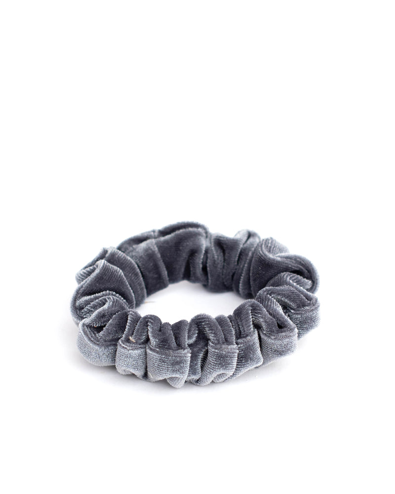Silver Velvet Mini Scrunchie