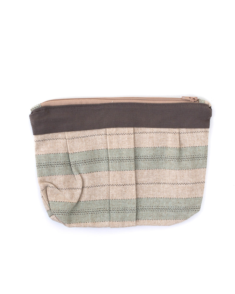 Taupe and Green Stripe Clutch