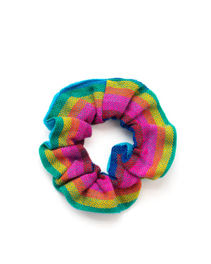 Turquoise Rainbow Woven Scrunchie