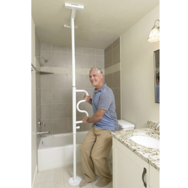 STANDER Universal Adjustable Floor to Ceiling Curved Grab Bar