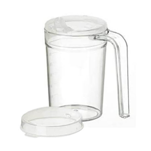 HOMECRAFT Shatterproof Mug with Sprout and Recessed Lids 400ml Clear