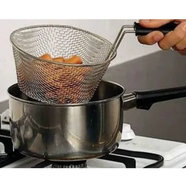 Homecraft Stainless Steel Cooking Basket in Use