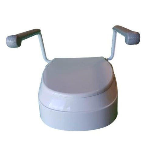 Homecraft Raised Toilet Seat with Arms Front View Closed